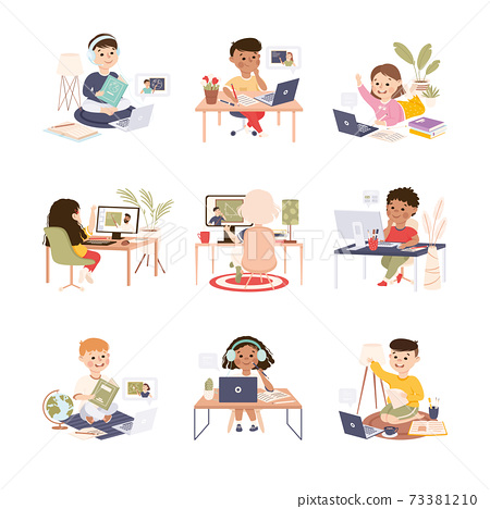 Elementary School Students Studying Online Using Laptop Computers Set, Homeschooling, Distance Learning Concept Cartoon Style Vector Illustration 73381210