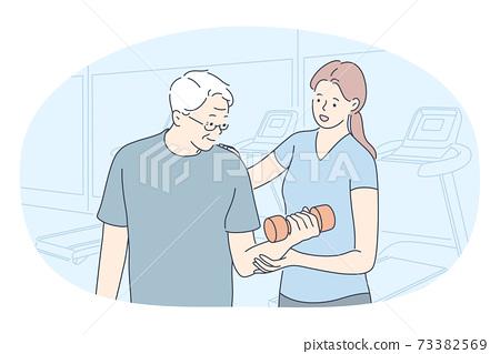 Fitness coach, rehabilitation, active lifestyle concept 73382569