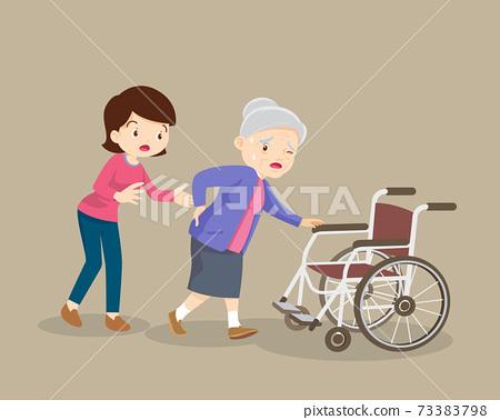 Women helping elderly patients to wheelchair 73383798