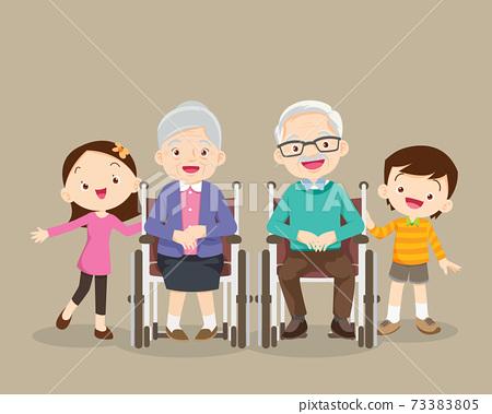 grandparents with grandchildren sitting on wheelchair 73383805