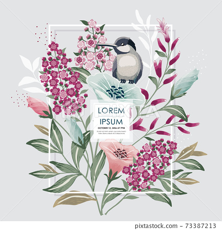 Vector illustration of a floral frame with a cute bird in spring for wedding, anniversary, birthday and party. Design for banner, poster, card, invitation and scrapbook  73387213