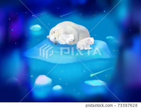 白熊睡在蔚藍的夜空中,流冰的小熊盯著流星 73387628