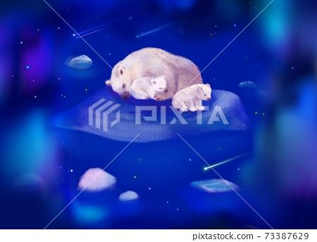 白熊睡在蔚藍的夜空中,流冰的小熊盯著流星 73387629