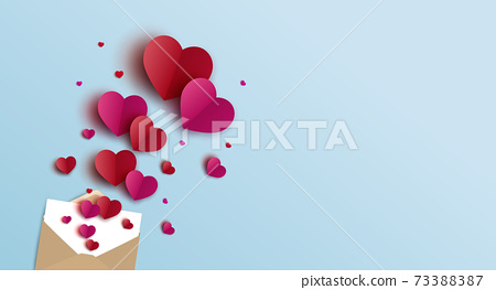Valentines day banner design of envelope and hearts vector illustration 73388387