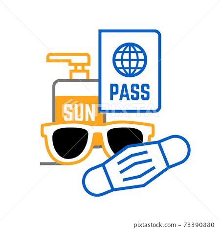 Sunglasses mask passport and sunscreen Travel icon 73390880