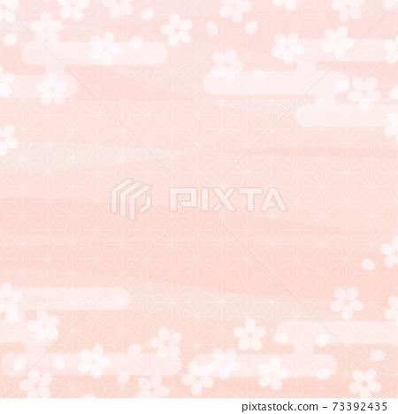櫻花背景圖和柔和的色彩廣場 73392435