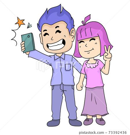 married couple taking selfies 73392436