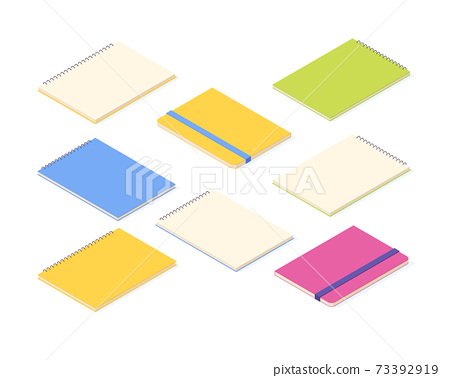 Notebook isometric set. Various paper notepads with spiral and hard cover. 73392919