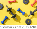 Set of dumbbells on yellow background. Top view, copy space. 73393284
