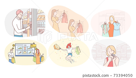 Shopping in trade center or supermarket and sales concept 73394050