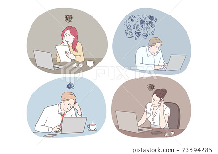 Online work, thinking during work with laptop in office concept 73394285