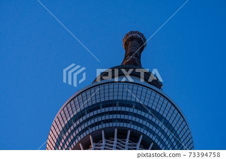 도쿄 스카이 트리 밀 아사쿠사 오후 도심 도쿄 밤하늘 구름 철골 스미다 건축 고층 타워 명소 73394758