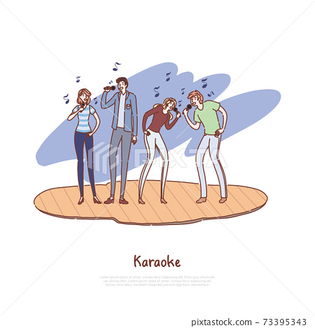 Young friends having fun together, happy men and women holding microphones, musical performance, karaoke concert banner 73395343