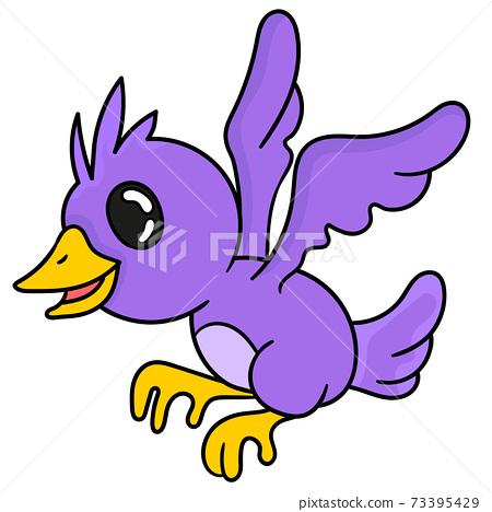 a purple bird is flying 73395429