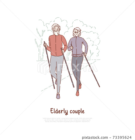 Elderly couple on stroll, fitness, sport exercise, married seniors pair outdoor recreation, active retirement banner 73395624