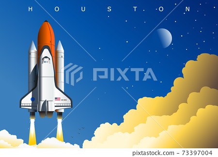 American space shuttle launch, symbolic illustration, Houston, TX, USA. Concept art poster 73397004