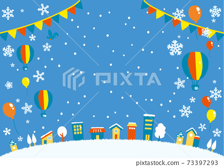 풍선과 풍선이 날아 겨울 하늘과 거리의 일러스트 가로 1 73397293