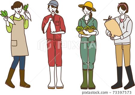 農業女孩,農業農民,女性插圖,矢量數據,4人 73397573