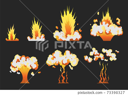 Animation for game of the explosion effect in separate frames. Cartoon animation for game. Exploding effect frames. Hand drawn vector illustration 73398327