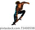 young man skateboarder Skateboarding isolated white background shadow silhouette 73400598
