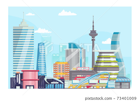 Concept modern futuristic urban landscape, city bannerview, big megapolis town flat vector illustration, isolated on white. 73401009