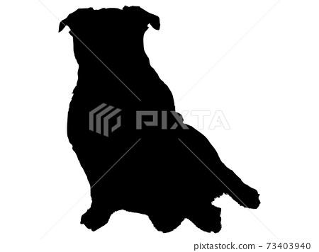 一隻狗坐在前面的輪廓 73403940