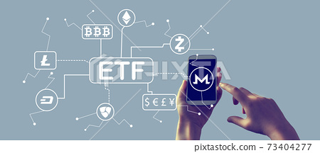 Cryptocurrency ETF theme with smartphone 73404277