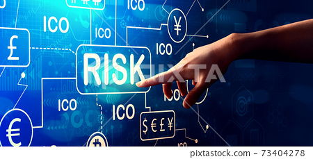 Cryptocurrency ICO risk theme with hand pressing a button 73404278