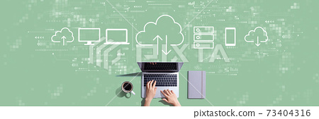Cloud computing with person working with laptop 73404316