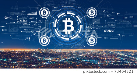 Bitcoin theme with downtown Los Angeles 73404321
