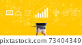 Marketing concept with person working with laptop 73404349