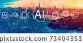 AI concept with the Bay Bridge in San Francisco 73404353