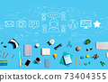 Social media theme with electronic gadgets and office supplies 73404355