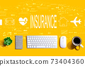 Insurance concept with a computer keyboard 73404360