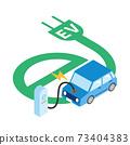 충전하는 전기 자동차의 일러스트 73404383