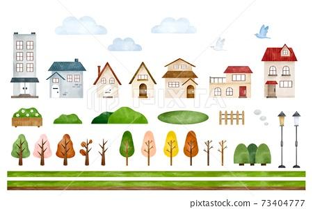 城市景觀零件設置水彩風格的插圖 73404777