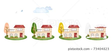 봄 여름 가을 겨울의 풍경과 건물 6 수채화 풍의 일러스트 73404823