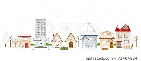 눈이 내리는 겨울의 거리 풍경 수채화 풍의 일러스트 73404824