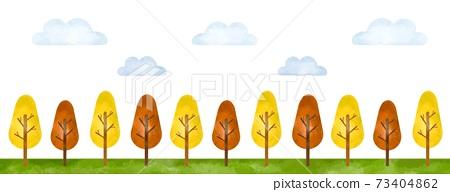 水彩風格插圖中排列的秋天樹木的風景 73404862