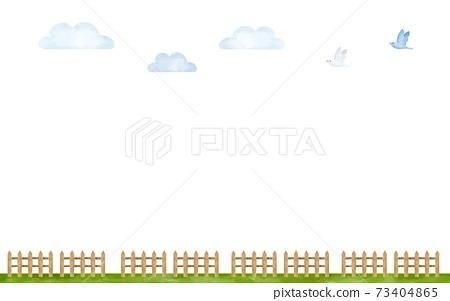 牧場圖像副本空間水彩風格的插圖 73404865