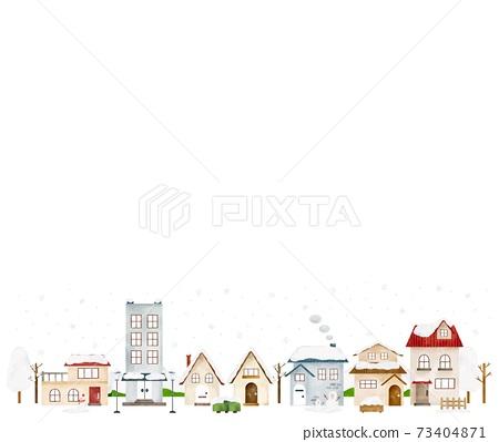 눈이 내리는 겨울 거리 상단 여백 수채화 풍의 일러스트 73404871