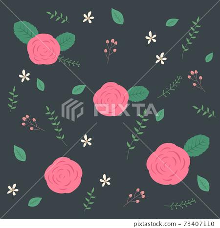장미꽃 패턴 벡터 일러스트 73407110