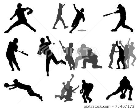 High school baseball silhouette set 73407172