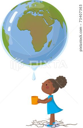 非洲的荒漠化全球變暖與女孩 73407363