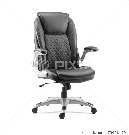 Office Chair Isolated on White Background. Side View of Black Grain Leather Upholstery Sofa Set with Flat Seat and Arm Rests. Armchair with Rock It and Lock It Function 73408149