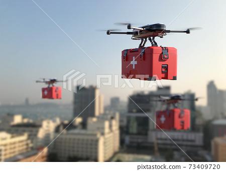 Drones deliver the COVID-19 vaccine into the city. 73409720