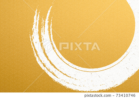 Illustration material Background material Japanese style Japanese paper Brush calligraphy Kim Qinghai wave pattern 73410746