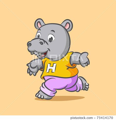 The big hippopotamus is running for doing the sport using the yellow shirt 73414170