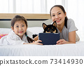 Happy Asian mother and daughter lying on bed and using digital tablet. Black Shiba Inu on bed between its owner. Concept family with dog at home. 73414930