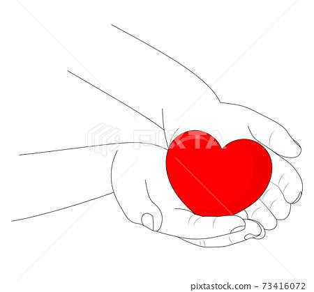 Human hand line art holding red heart. Vector illustration. 73416072